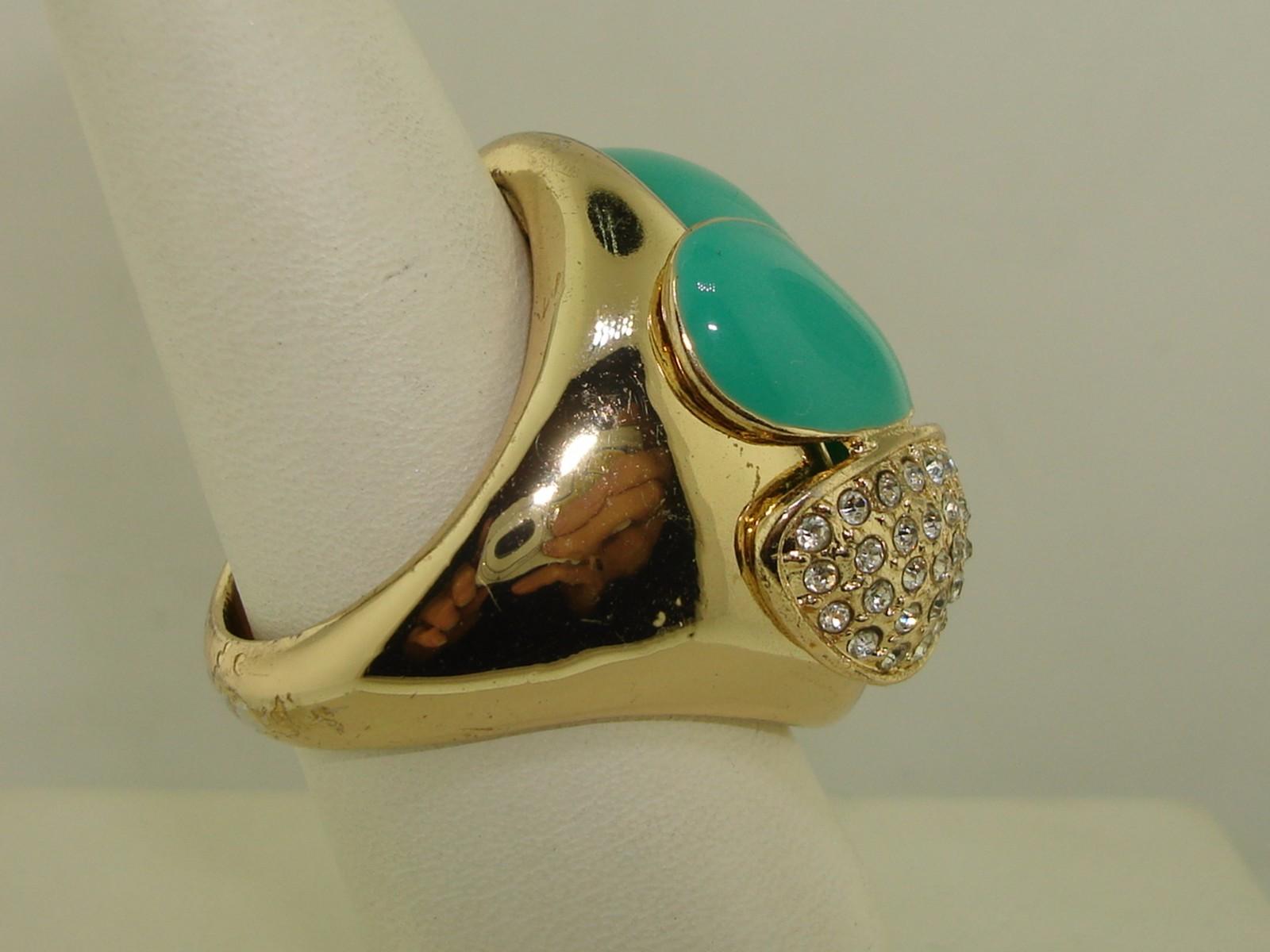 BEAUTIFUL TEAL BLUE & SPARKLING RHINESTONE FASHION RING! SZ 10