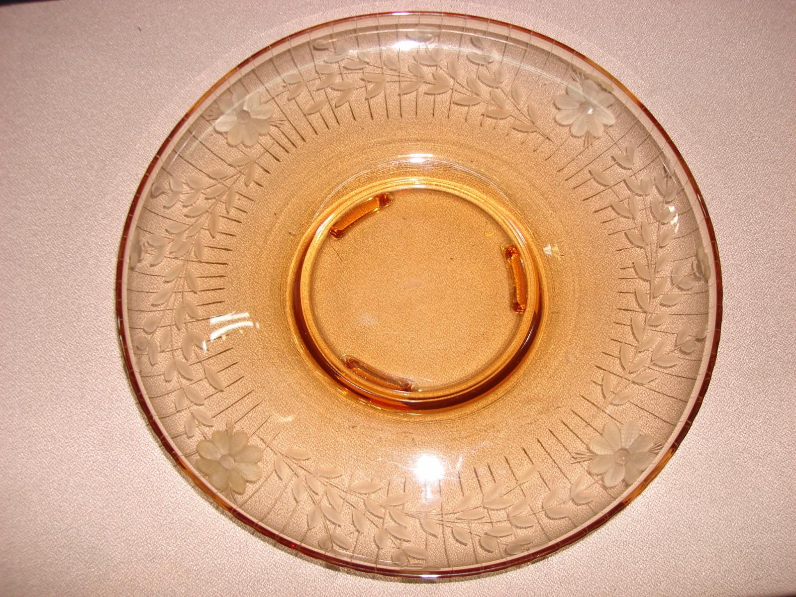 Vintage etched amber centerpiece bowl